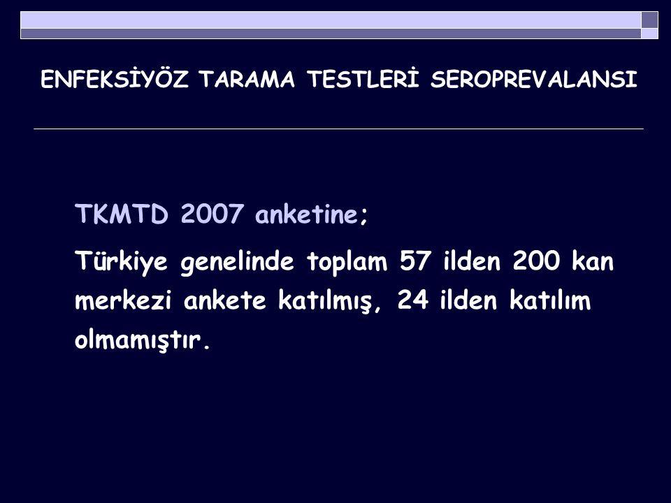 ENFEKSİYÖZ TARAMA TESTLERİ SEROPREVALANSI Tablo 1.