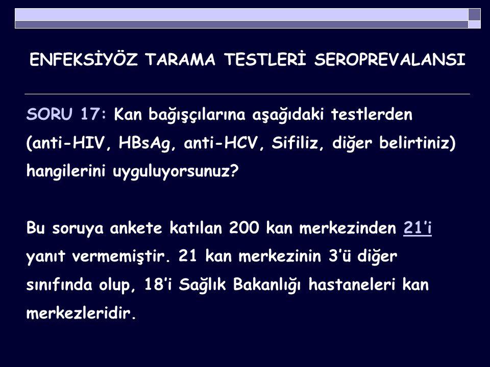 ENFEKSİYÖZ TARAMA TESTLERİ SEROPREVALANSI Tablo 4.