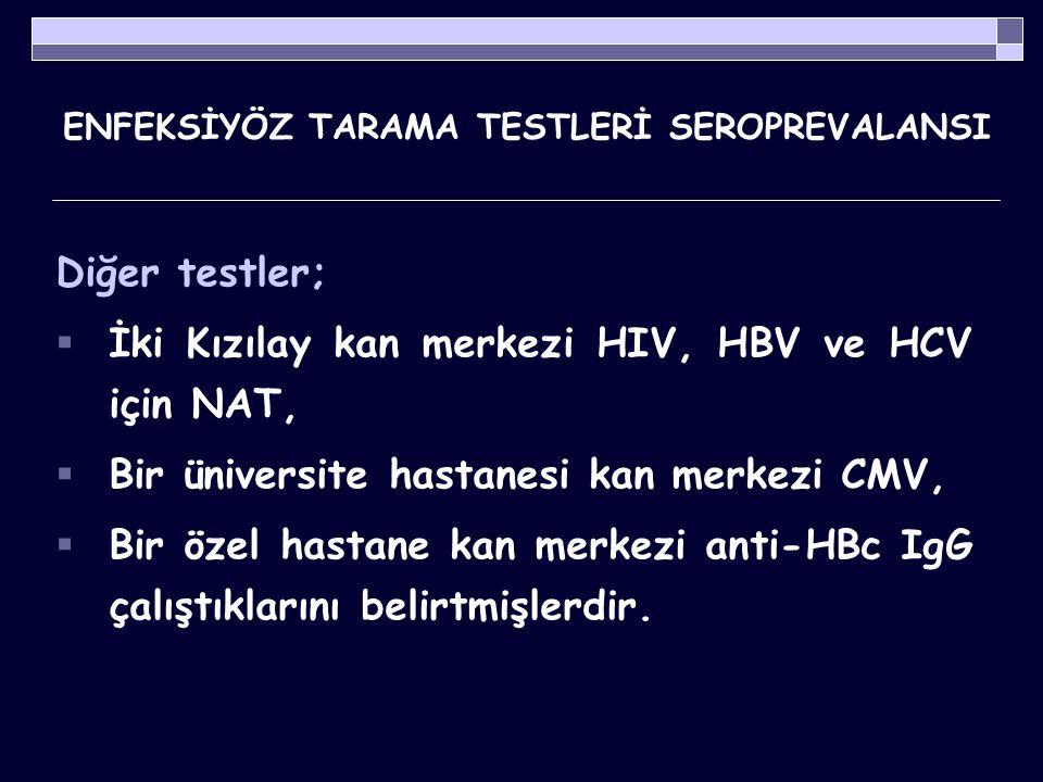 ENFEKSİYÖZ TARAMA TESTLERİ SEROPREVALANSI Tablo 5.
