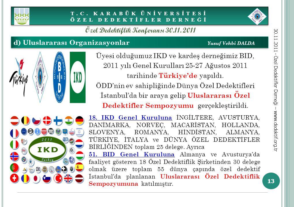 13 d) Uluslararası Organizasyonlar Yusuf Vehbi DALDA T.C. KARABÜK ÜNİVERSİTESİ ÖZEL DEDEKTİFLER DERNEĞİ 30.11.2011 - Özel Dedektifler Derneği – www.de