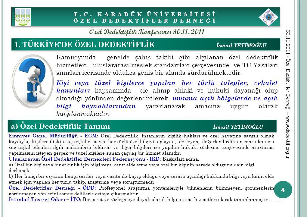 4 1. TÜRKİYE'DE ÖZEL DEDEKTİFLİK İsmail YETİMOĞLU a) Özel Dedektiflik Tanımı İsmail YETİMOĞLU Emniyet Genel Müdürlüğü - EGM: Özel Dedektiflik, insanla