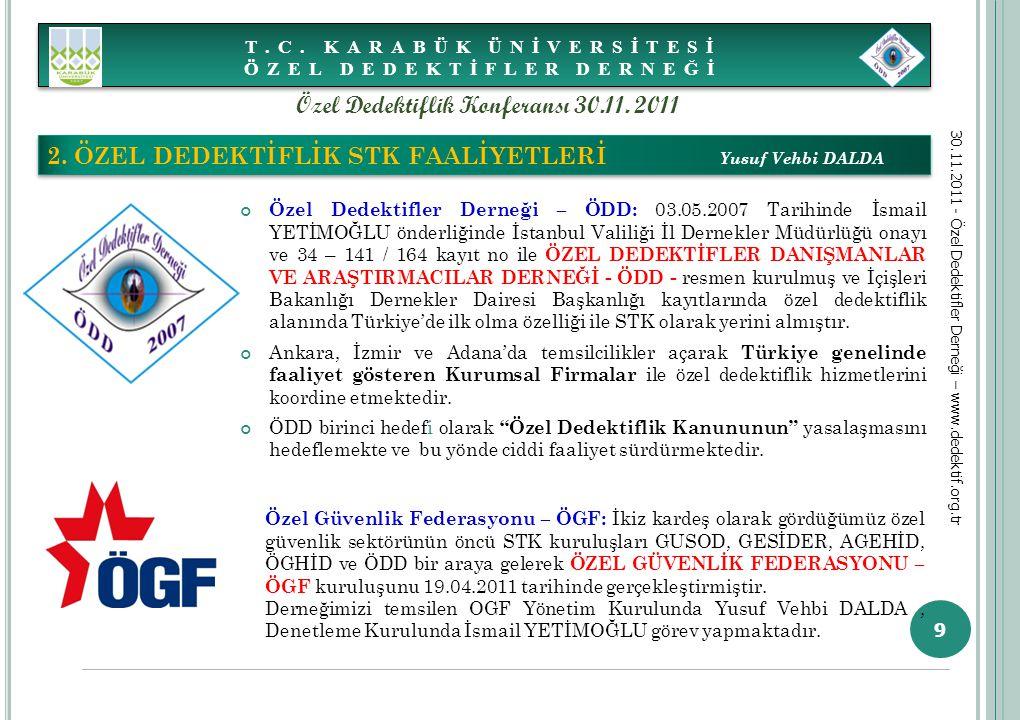 9 Özel Dedektifler Derneği – ÖDD: 03.05.2007 Tarihinde İsmail YETİMOĞLU önderliğinde İstanbul Valiliği İl Dernekler Müdürlüğü onayı ve 34 – 141 / 164