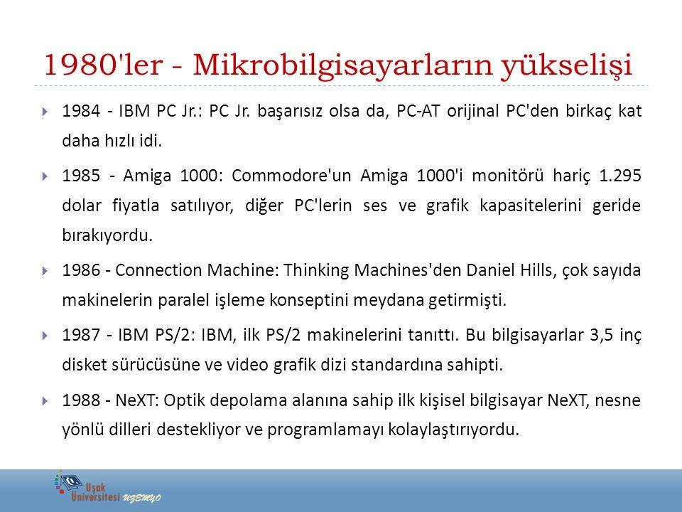 1980'ler - Mikrobilgisayarların yükselişi  1984 - IBM PC Jr.: PC Jr. başarısız olsa da, PC-AT orijinal PC'den birkaç kat daha hızlı idi.  1985 - Ami