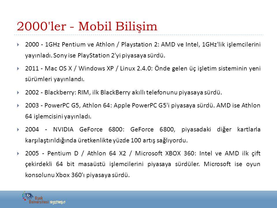 2000'ler - Mobil Bilişim  2000 - 1GHz Pentium ve Athlon / Playstation 2: AMD ve Intel, 1GHz'lik işlemcilerini yayınladı. Sony ise PlayStation 2'yi pi