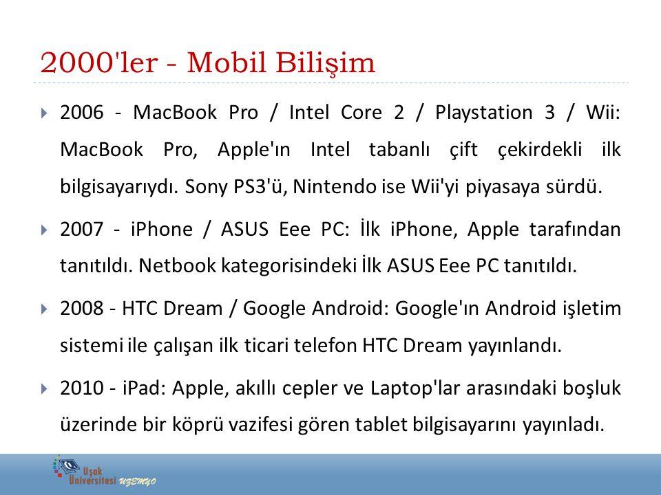 2000'ler - Mobil Bilişim  2006 - MacBook Pro / Intel Core 2 / Playstation 3 / Wii: MacBook Pro, Apple'ın Intel tabanlı çift çekirdekli ilk bilgisayar
