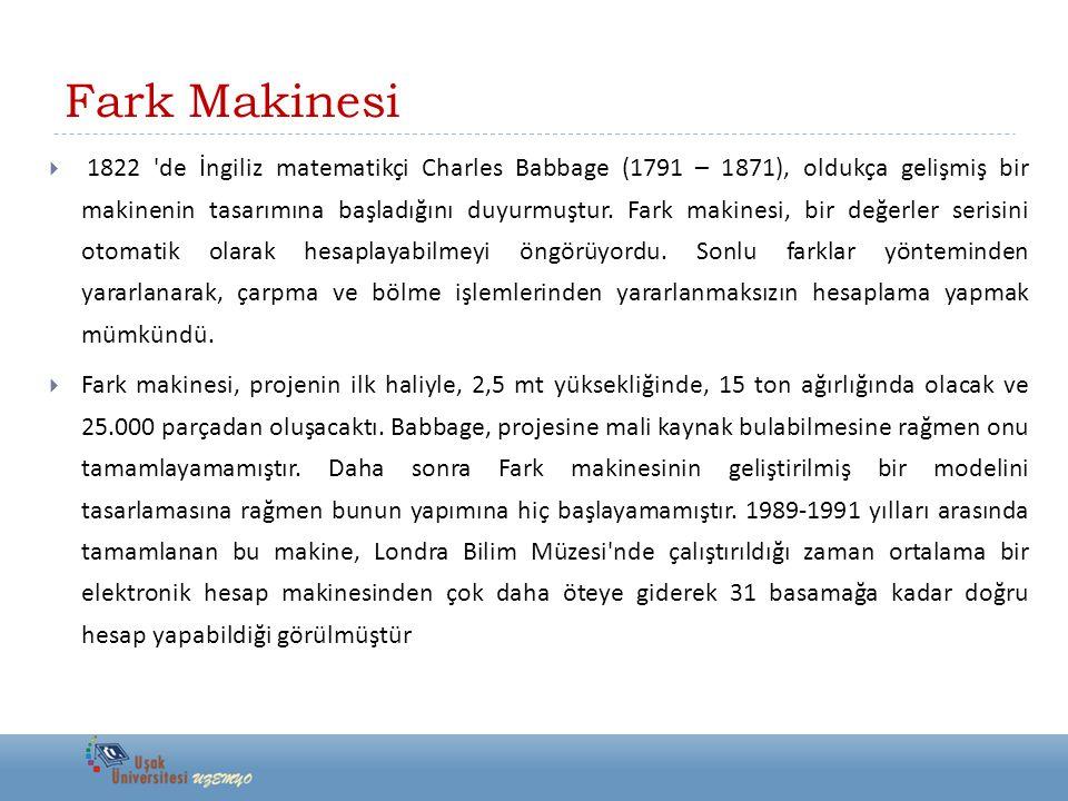 Fark Makinesi  Babbage geliştirdi ğ i ikinci Fark makinesi ile birlikte çalışabilecek, de ğ işken sütun ve satır özelliklerine sahip, çıktı formatı programlanabilmesi gibi şaşırtıcı özelliklere sahip bir yazıcı tasarlamıştır.