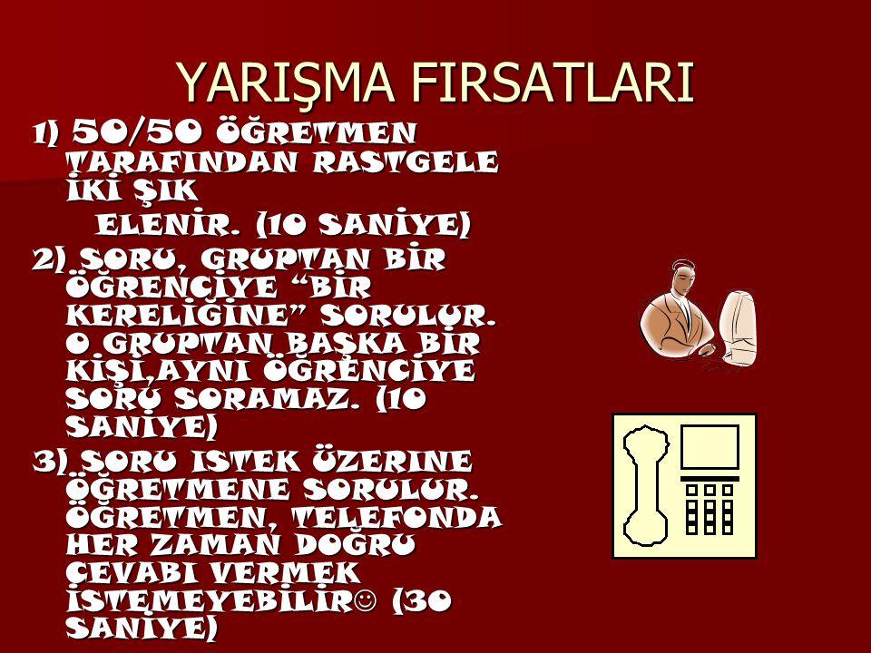 YARIŞMA FIRSATLARI 1) 50/50 ÖĞRETMEN TARAFINDAN RASTGELE İKİ ŞIK ELENİR.