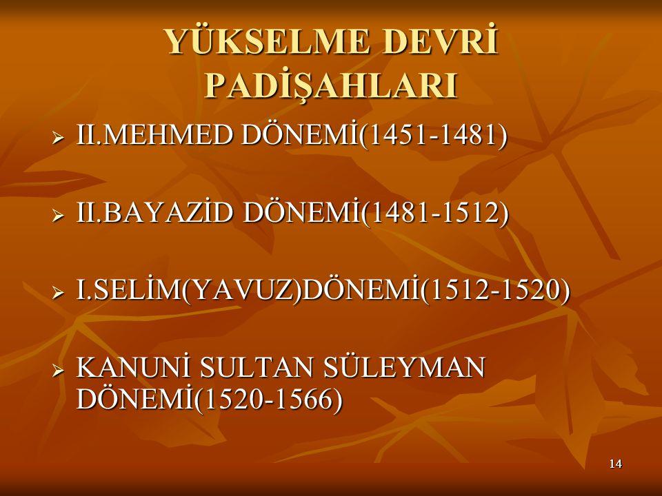 1414 YÜKSELME DEVRİ PADİŞAHLARI  II.MEHMED DÖNEMİ(1451-1481)  II.BAYAZİD DÖNEMİ(1481-1512)  I.SELİM(YAVUZ)DÖNEMİ(1512-1520)  KANUNİ SULTAN SÜLEYMAN DÖNEMİ(1520-1566)