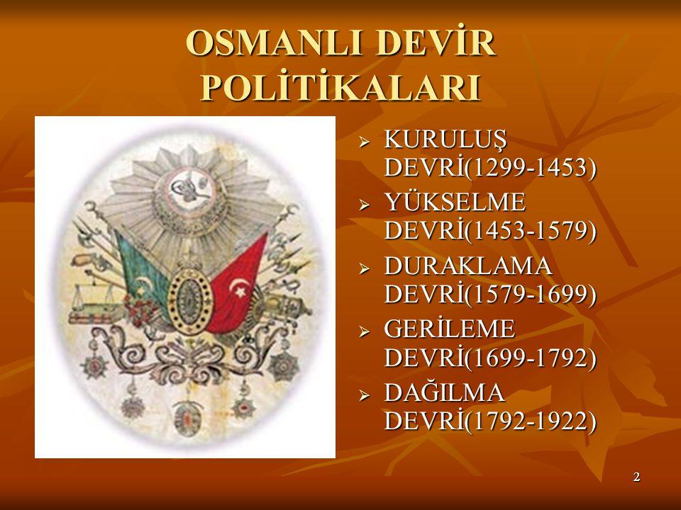 22 OSMANLI DEVİR POLİTİKALARI  KURULUŞ DEVRİ(1299-1453)  YÜKSELME DEVRİ(1453-1579)  DURAKLAMA DEVRİ(1579-1699)  GERİLEME DEVRİ(1699-1792)  DAĞILMA DEVRİ(1792-1922)