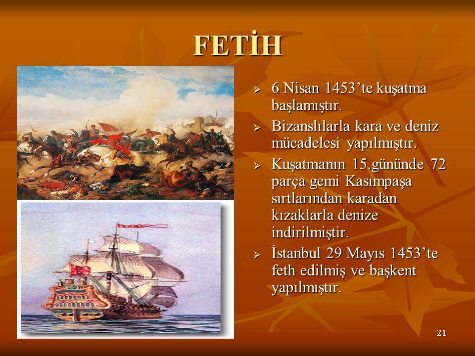 2121 FETİH  6 Nisan 1453'te kuşatma başlamıştır.