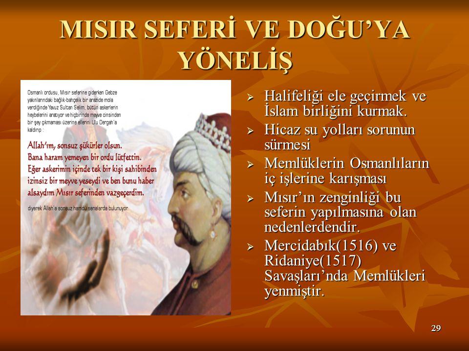 2929 MISIR SEFERİ VE DOĞU'YA YÖNELİŞ  Halifeliği ele geçirmek ve İslam birliğini kurmak.