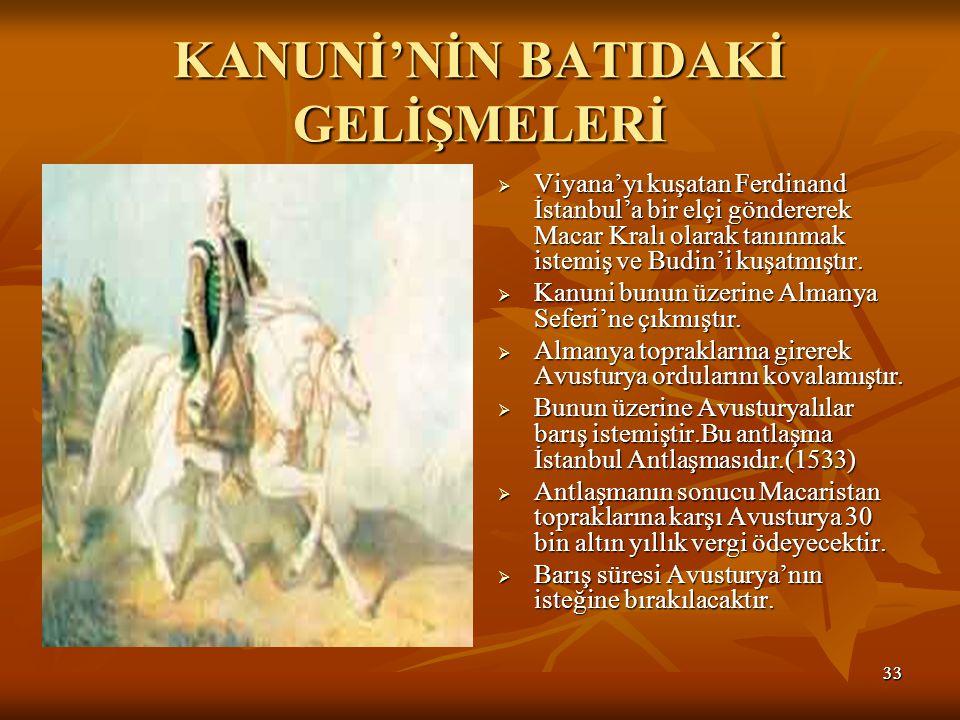 3333 KANUNİ'NİN BATIDAKİ GELİŞMELERİ  Viyana'yı kuşatan Ferdinand İstanbul'a bir elçi göndererek Macar Kralı olarak tanınmak istemiş ve Budin'i kuşatmıştır.