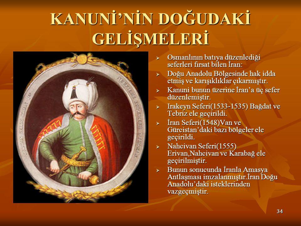 3434 KANUNİ'NİN DOĞUDAKİ GELİŞMELERİ  Osmanlının batıya düzenlediği seferleri fırsat bilen İran:  Doğu Anadolu Bölgesinde hak idda etmiş ve karışıklıklar çıkarmıştır.