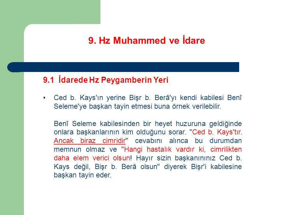 9. Hz Muhammed ve İdare 9.1 İdarede Hz Peygamberin Yeri Ced b. Kays'ın yerine Bişr b. Berâ'yı kendi kabilesi Benî Seleme'ye başkan tayin etmesi buna ö