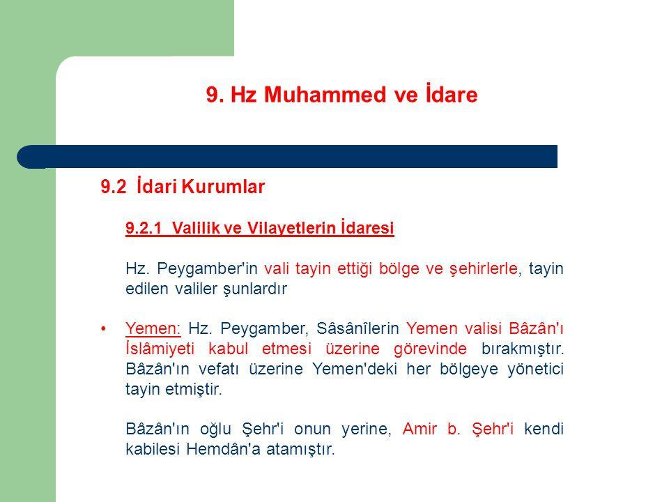 9. Hz Muhammed ve İdare 9.2 İdari Kurumlar 9.2.1 Valilik ve Vilayetlerin İdaresi Hz. Peygamber'in vali tayin ettiği bölge ve şehirlerle, tayin edilen