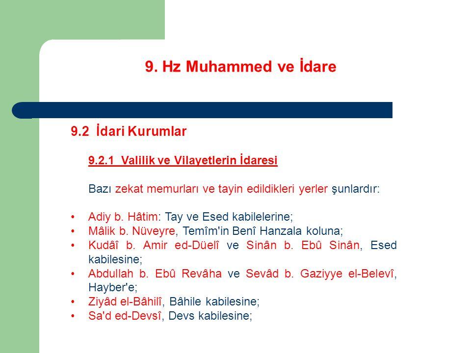 9. Hz Muhammed ve İdare 9.2 İdari Kurumlar 9.2.1 Valilik ve Vilayetlerin İdaresi Bazı zekat memurları ve tayin edildikleri yerler şunlardır: Adiy b. H