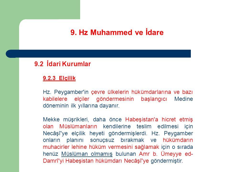 9. Hz Muhammed ve İdare 9.2 İdari Kurumlar 9.2.3 Elçilik Hz. Peygamber'in çevre ülkelerin hükümdarlarına ve bazı kabilelere elçiler göndermesinin başl