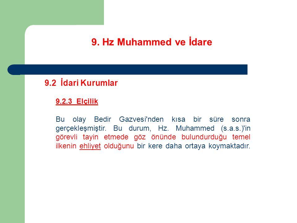 9. Hz Muhammed ve İdare 9.2 İdari Kurumlar 9.2.3 Elçilik Bu olay Bedir Gazvesi'nden kısa bir süre sonra gerçekleşmiştir. Bu durum, Hz. Muhammed (s.a.s