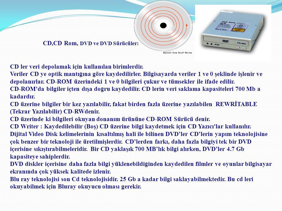 CD,CD Rom, DVD ve DVD Sürücüler: CD ler veri depolamak için kullanılan birimlerdir. Veriler CD ye optik mantığına göre kaydedilirler. Bilgisayarda ver