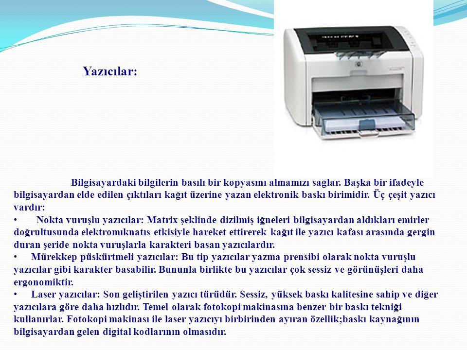 Bilgisayardaki bilgilerin basılı bir kopyasını almamızı sağlar. Başka bir ifadeyle bilgisayardan elde edilen çıktıları kağıt üzerine yazan elektronik