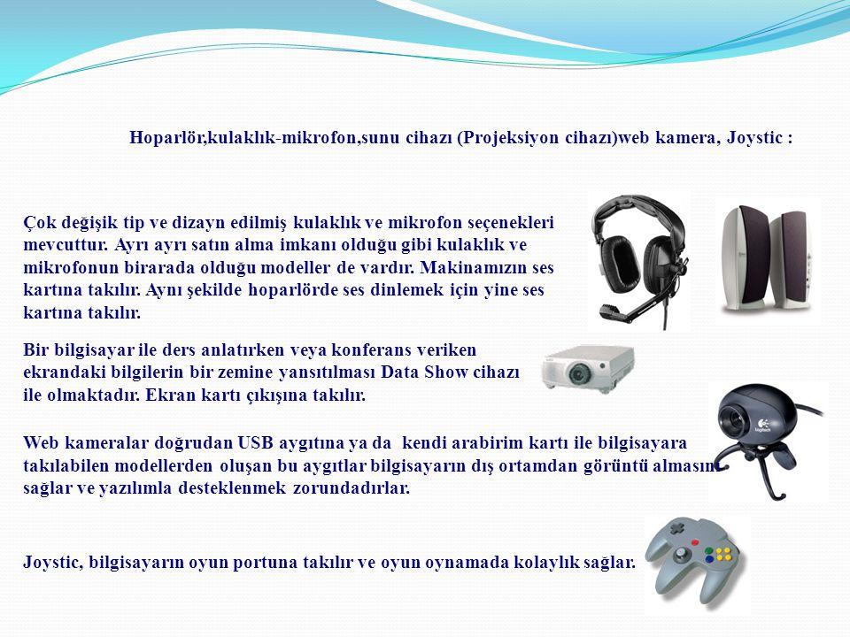Hoparlör,kulaklık-mikrofon,sunu cihazı (Projeksiyon cihazı)web kamera, Joystic : Çok değişik tip ve dizayn edilmiş kulaklık ve mikrofon seçenekleri me