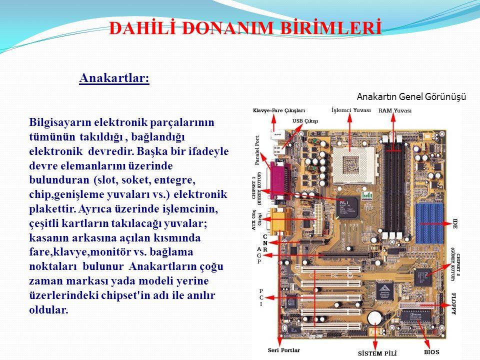 Anakartın Genel Görünüşü Bilgisayarın elektronik parçalarının tümünün takıldığı, bağlandığı elektronik devredir. Başka bir ifadeyle devre elemanlarını