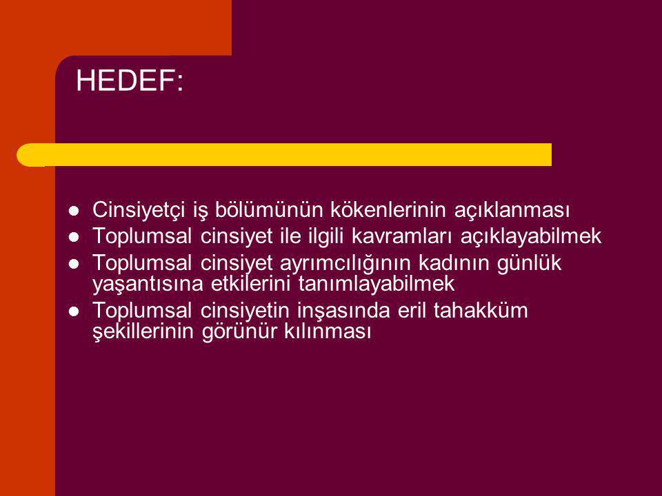 HEDEF: Cinsiyetçi iş bölümünün kökenlerinin açıklanması Toplumsal cinsiyet ile ilgili kavramları açıklayabilmek Toplumsal cinsiyet ayrımcılığının kadı