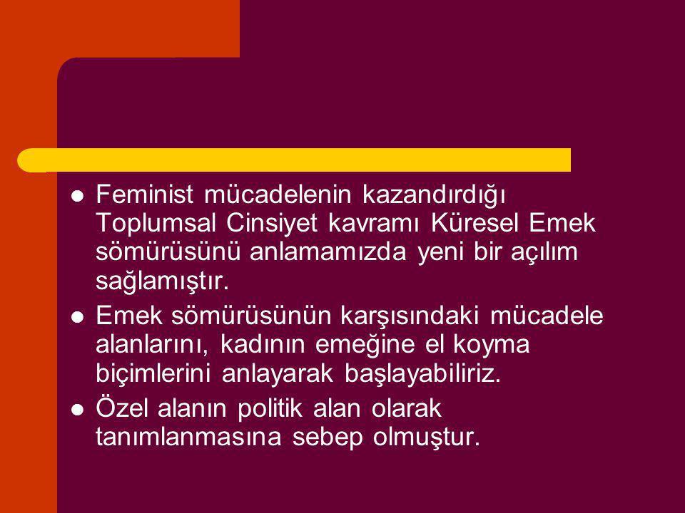 Feminist mücadelenin kazandırdığı Toplumsal Cinsiyet kavramı Küresel Emek sömürüsünü anlamamızda yeni bir açılım sağlamıştır. Emek sömürüsünün karşısı