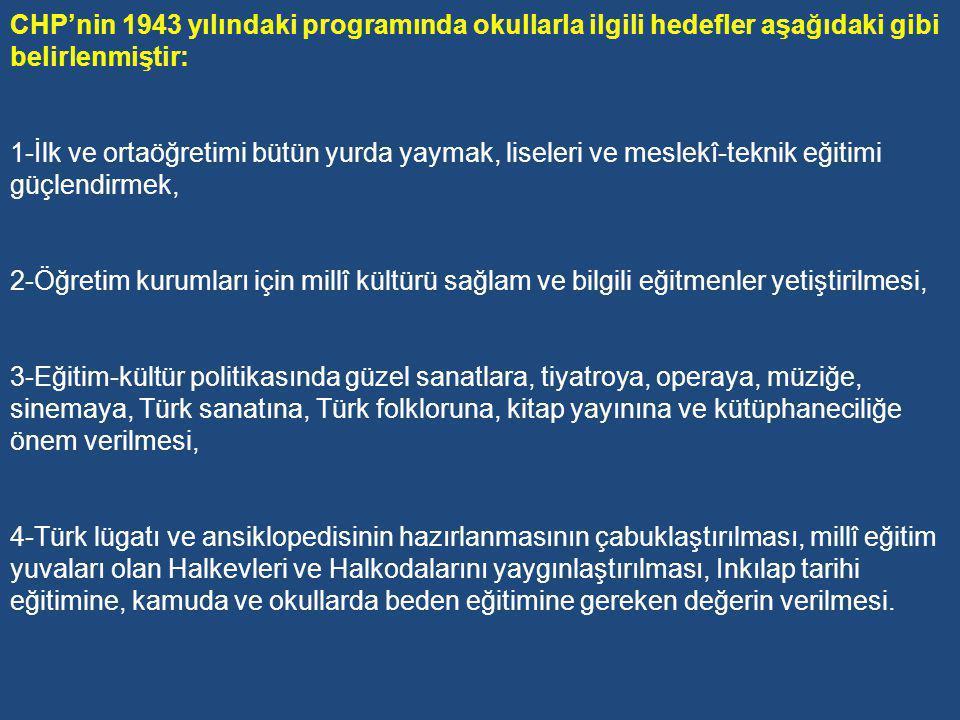 Dönemin Milli Eğitim Bakanı Hasan Ali Yücel Türk bireyinin yaşamasını istediği ahlâkı şu kelimelerle ifade eder: Ben Türküm, her şeyim Türk milleti içindir.