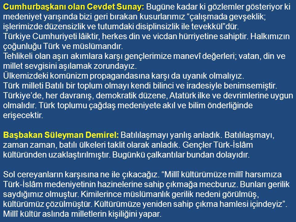 Adalet Partisi Dönemi Hükümet Programlarında Eğitim AP'nin 1965-71 yılları arasında kurduğu hükümetlerin programında yer alan eğitim hedefleri şunlar olmuştur: Eğitim politikasının temeli maddî ve manevî kalkınmayı, millî bilinci güçlendirmeyi ve hür, demokrat Türkiye idealini gerçekleştirmektir.