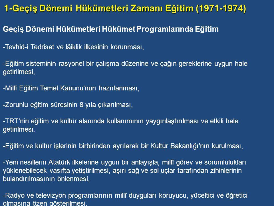Eğitim-Kültür ve Toplumsal Hayatta Kargaşa Dönemi adını verdiğimiz bu dönemi iki kısımda incelemek uygun görünmektedir: 1-Geçiş Dönemi Hükümetleri Zamanı Eğitim (1971-1974).
