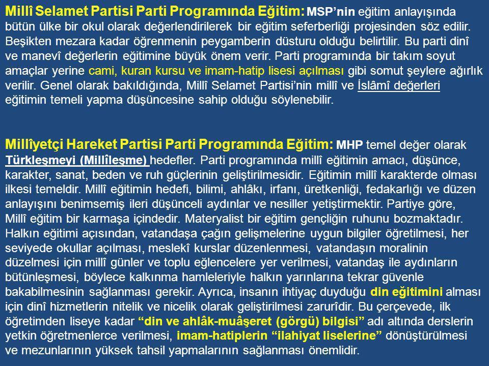 Cumhuriyet Halk Partisi Parti Programında Eğitim: CHP, 1970 sonrası döneme şu eğitim görüşleriyle girmiştir: Eğitimde esas, vatan ve millet sevgisi, devrimlere bağlılık ve demokrasi terbiyesidir .