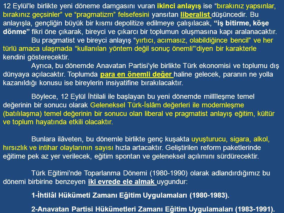 Toparlanma Dönemi (1980-1991) 1970'li yıllarda Türkiye'de yaşanan anarşi ve kargaşa ortamı 12 Eylül 1980 tarihinde Türk Silahlı Kuvvetleri'nin ülke yönetimine el koymasıyla son bulmuştur.