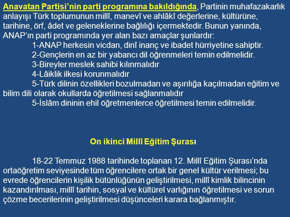 2-Anavatan Partisi Hükümetleri Zamanı Eğitim Uygulamaları (1983-1991) 1982 Mayısı'nda Millî Güvenlik Konseyi siyasal partilerin kurulmasına izin verince, 1980 İhtilâli ile kapatılan AP, CHP, MSP ve MHP dahil dört partinin eğilimini bünyesinde topladığını iddia eden Anavatan Partisi (ANAP) Turgut Özal tarafından kurulmuştur.