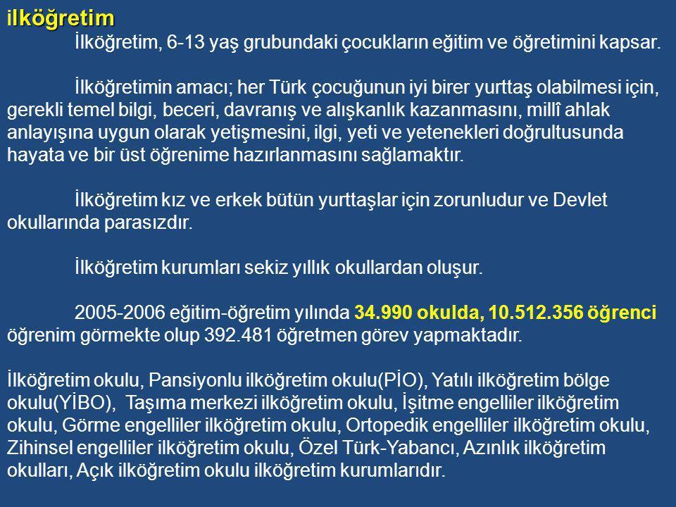 1739 Sayılı Temel Kanuna göre, Türk Millî eğitim sistemi, örgün eğitim ve yaygın eğitim olmak üzere, ikiye ayrılır: 1-ÖRGÜN EĞİTİM: Belirli yaş grubundaki ve aynı seviyedeki bireylere, amaca göre hazırlanmış programlarla okul çatısı altında yapılan düzenli eğitimdir.