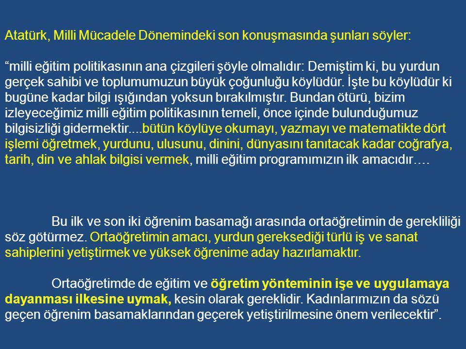 Atatürk, 1921 tarihindeki ilk Maarif Kongresinde şunları söyler: Bugüne kadar izlenen eğitim ve öğretim yöntemlerinin, ulusumuzun gerileme tarihinde en önemli etken olduğu inancındayım.