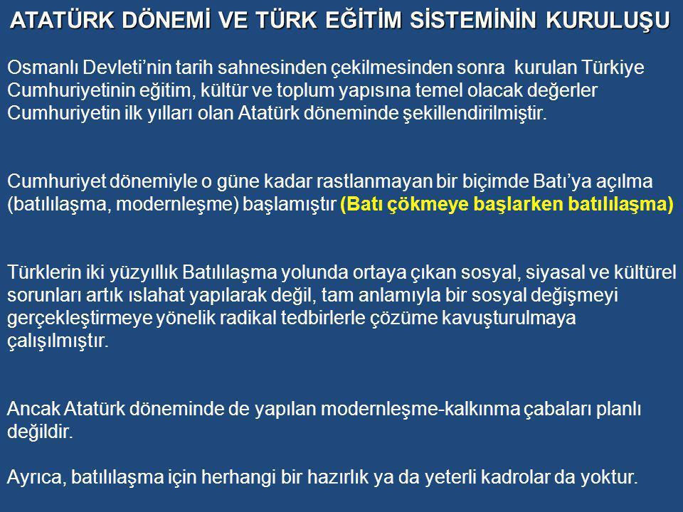 Atatürk, Milli Mücadele Dönemindeki son konuşmasında şunları söyler: milli eğitim politikasının ana çizgileri şöyle olmalıdır: Demiştim ki, bu yurdun gerçek sahibi ve toplumumuzun büyük çoğunluğu köylüdür.
