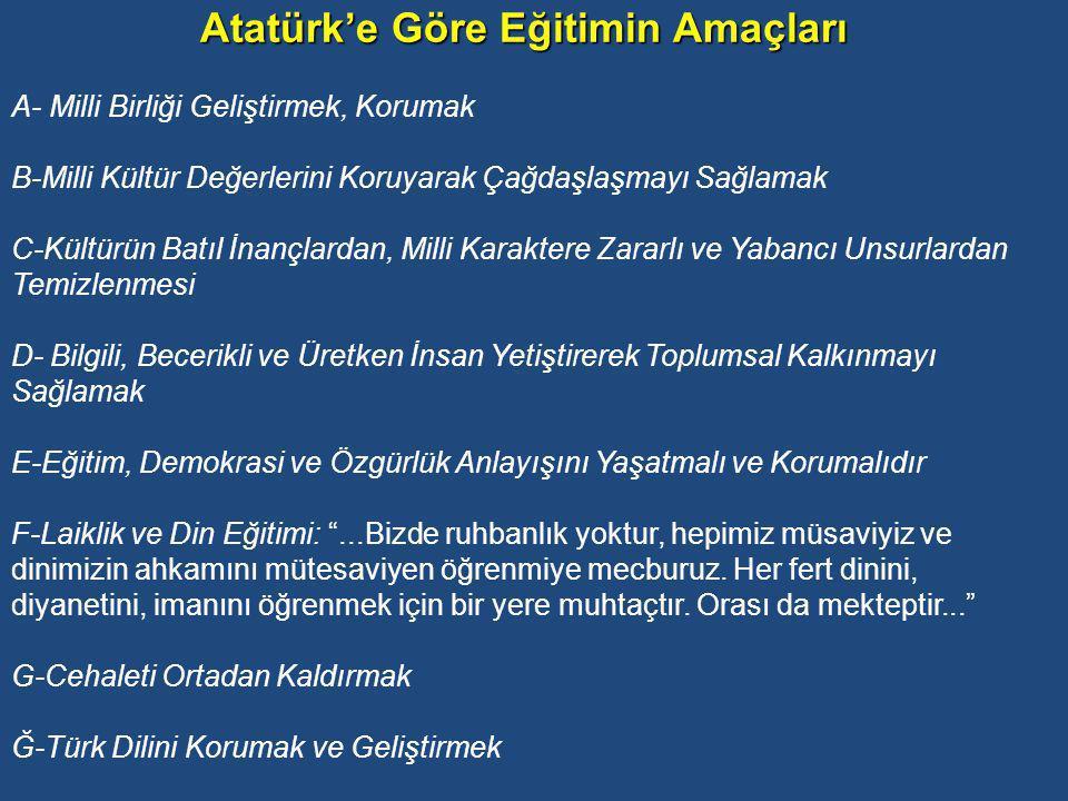 Atatürk'e göre Eğitimin Temel Esasları A-Eğitim Milli Olacak, Milli Kültüre ve Ahlaka Dayanacak: Eğitim, Doğu ve Batılı kültürlerin etkisinden uzak olacak, milli karaktere uygun bir kültür aktarılacak Milli kültürün kaynaklarının milli tarihte ve dilde yattığını düşünen Atatürk bu kaynaklardan elde edilecek değerlerin yeni nesillerin ruh ve bilincini beslemesini ister.