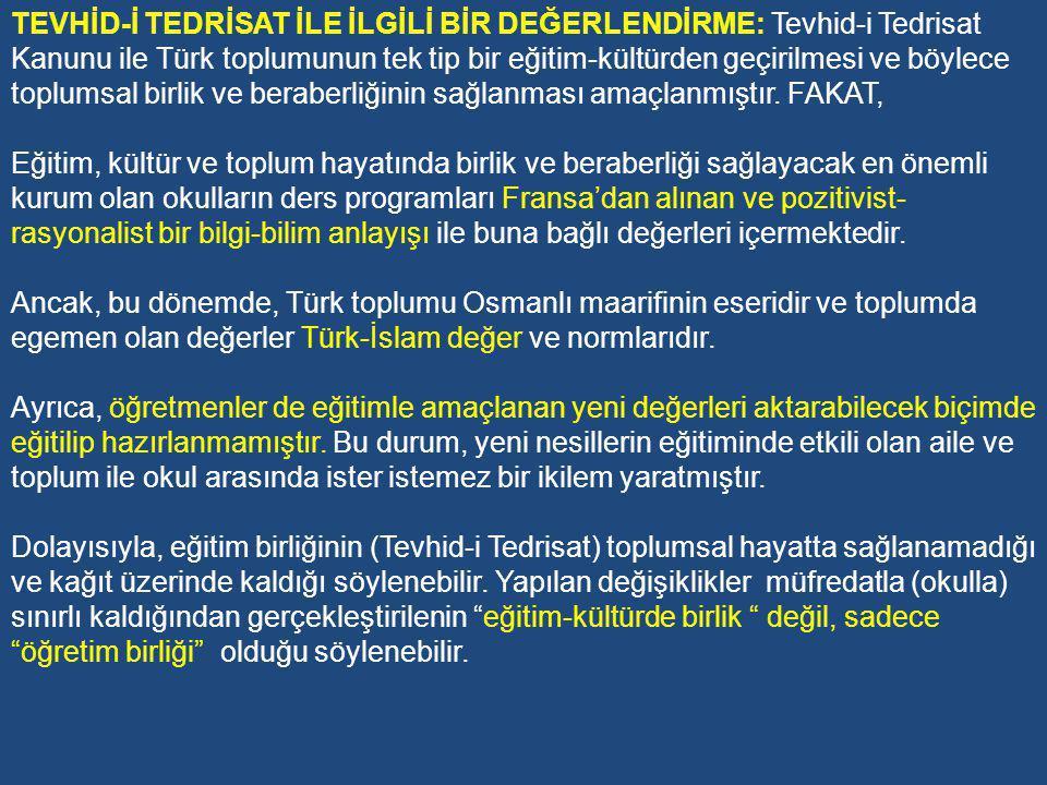 Tevhid-i Tedrisat Kanunu ile ülkede bulunan 29 Darülhilafe medresesini imam hatip okuluna çevrilmiş, 479 tane medaris-i ilmiye kapatılmıştır.