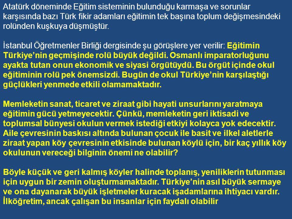 H-Köylülerin Eğitimi Projesi 1930'ların başlarında, Türk köyü sefaletten ve Türk köylüsü bilgisizlikten kurtulmadıkça yapılan devrimlerin başarılı olamayacağı düşünceleri tekrar konuşulmaya başlandı.