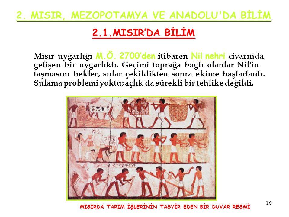 2. MISIR, MEZOPOTAMYA VE ANADOLU'DA BİLİM 2.1.MISIR'DA BİLİM Mısır uygarlığı M.Ö. 2700'den itibaren Nil nehri civarında gelişen bir uygarlıktı. Geçimi