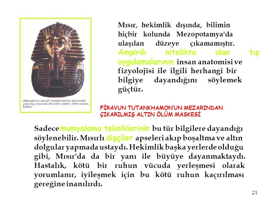 Mısır, hekimlik dışında, bilimin hiçbir kolunda Mezopotamya'da ulaşılan düzeye çıkamamıştır. Ampirik nitelikte olan tıp uygulamalarının, insan anatomi