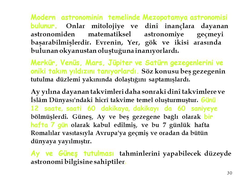 Modern astronominin temelinde Mezopotamya astronomisi bulunur. Onlar mitolojiye ve dinî inançlara dayanan astronomiden matematiksel astronomiye geçmey
