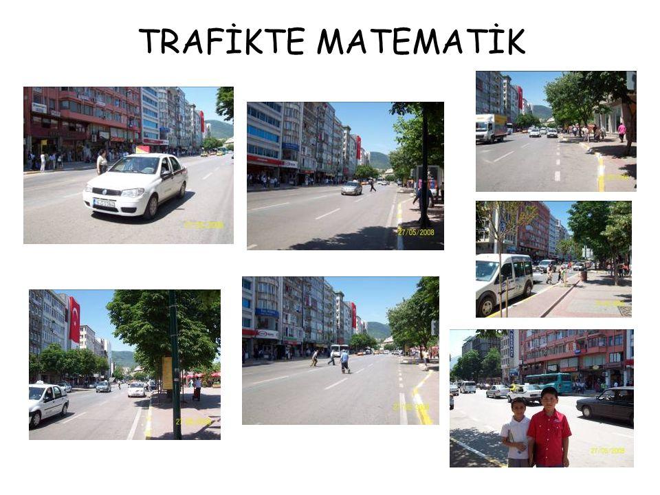Trafikte matematik etkinliğimizde trafiğin yoğun olduğu Heykel Caddesinde çekimler yaptık ve şu sonuçlara vardık: 1-Alt geçitleri kullanma süresi: 27 saniye, trafiğin arasından geçmek ise 9 saniye üçte bir süre kazanç sağlıyor.