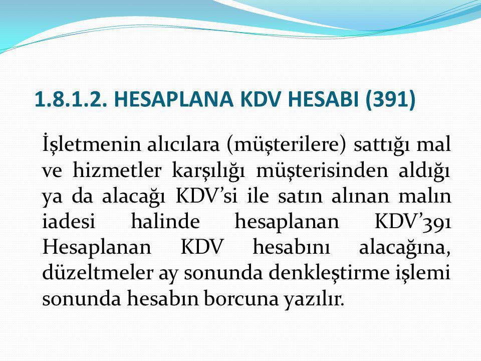 1.8.1.2. HESAPLANA KDV HESABI (391) İşletmenin alıcılara (müşterilere) sattığı mal ve hizmetler karşılığı müşterisinden aldığı ya da alacağı KDV'si il