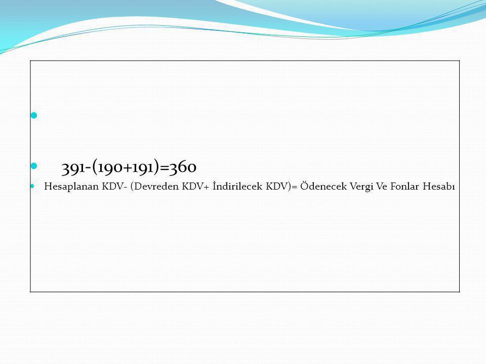 391-(190+191)=360 Hesaplanan KDV- (Devreden KDV+ İndirilecek KDV)= Ödenecek Vergi Ve Fonlar Hesabı