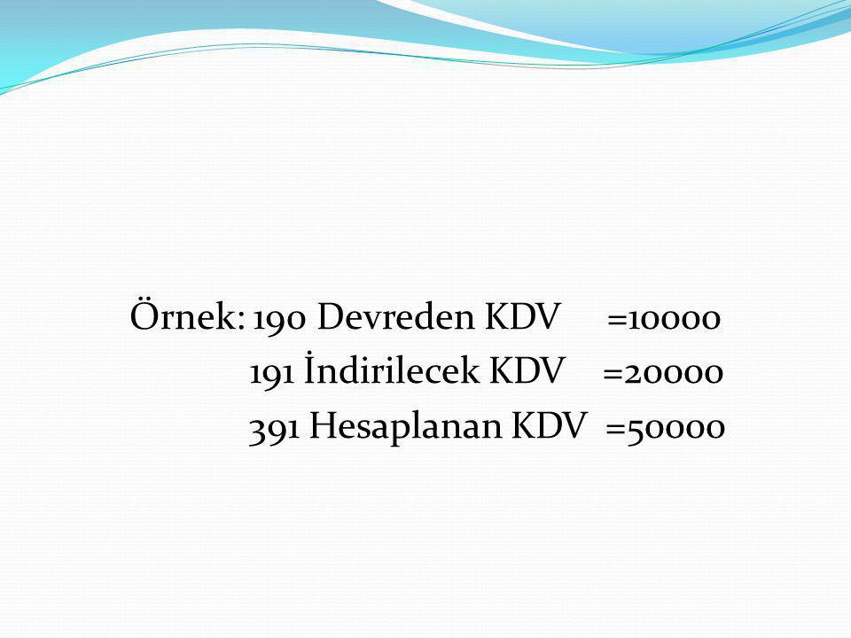 Örnek: 190 Devreden KDV =10000 191 İndirilecek KDV =20000 391 Hesaplanan KDV =50000