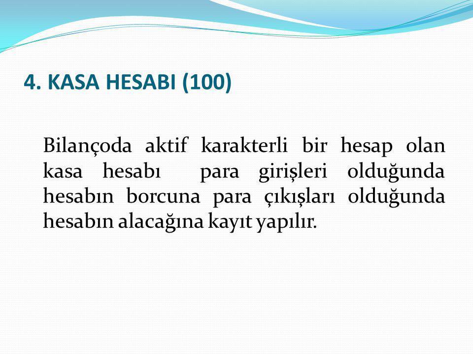 4. KASA HESABI (100) Bilançoda aktif karakterli bir hesap olan kasa hesabı para girişleri olduğunda hesabın borcuna para çıkışları olduğunda hesabın a