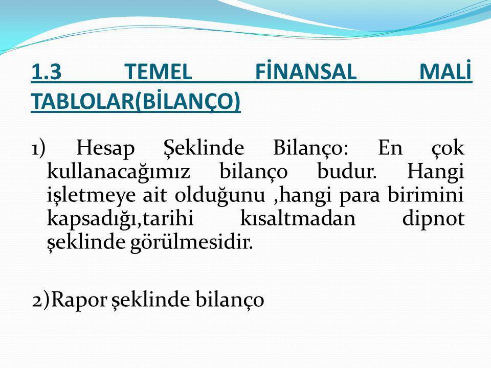 1.3 TEMEL FİNANSAL MALİ TABLOLAR(BİLANÇO) 1) Hesap Şeklinde Bilanço: En çok kullanacağımız bilanço budur. Hangi işletmeye ait olduğunu,hangi para biri