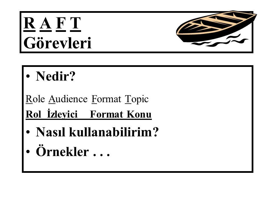 R A F T Görevleri Nedir.Role Audience Format Topic Rol İzleyici Format Konu Nasıl kullanabilirim.